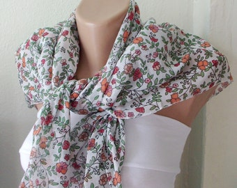 Floral Scarf, Cotton Scarf, Flower Spring Scarf