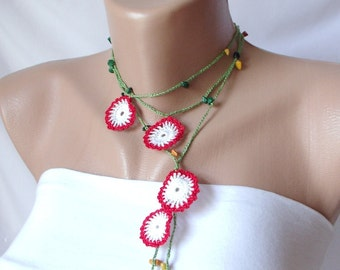 Eco friendly Red, White, green Flowers and green bead  Necklace, Lariat, Bracelet - Turkish lace Work-OOAK