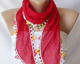 Cotton Scarf - Pompom Scarf - bandana headband - colorful pompom