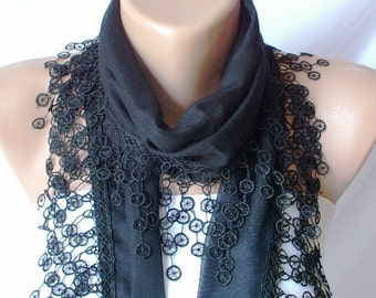 Black Scarf- Cotton Scarf - Lace Scarf- Scarf with Lace Edge