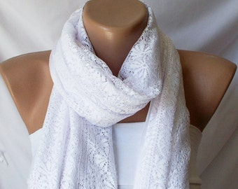 Tulle Scarf, White Shawl, Wrap Scarf, Cotton Scarf