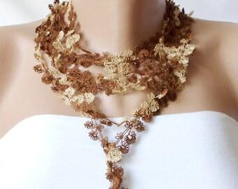 Flower DREAM- Brown tones Lace flower Necklace, Lariat, Bracelet - Turkish lace Work