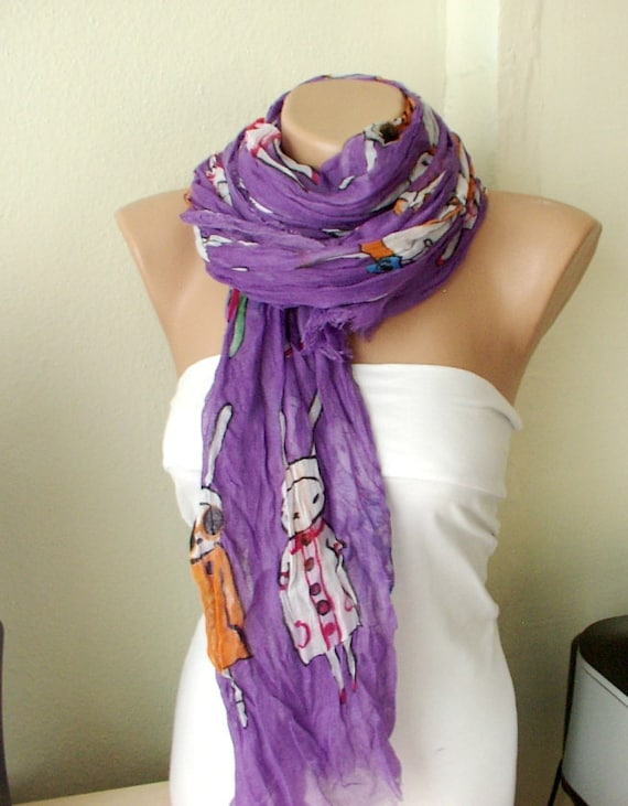 Five Bunnies are Shopping Purple Cotton Long Scarf with wrinkle
