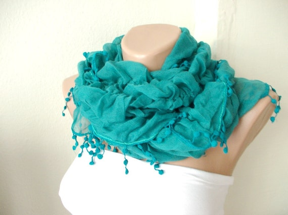 Green Color Ruffle Scarf from %100 coton with pompom lace
