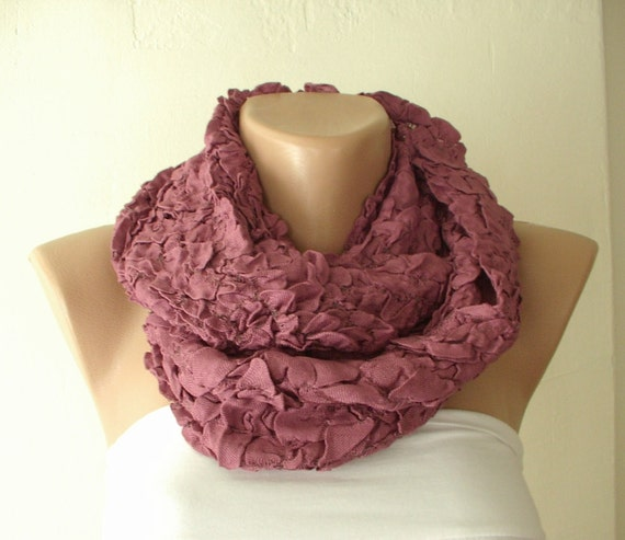 Purple Cotton Bubble Cozy Scarf with wrinkle