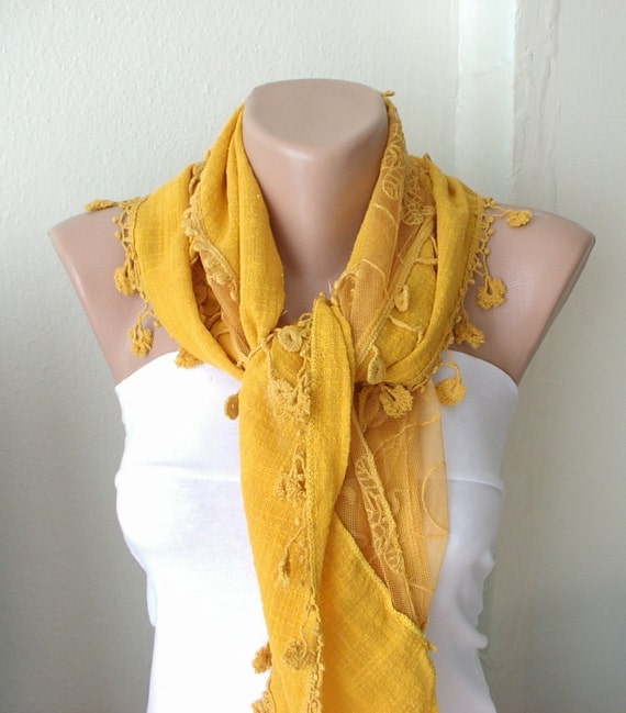 Saffron, English Mustard, yellow Cotton Scarf with Pine flower Lace