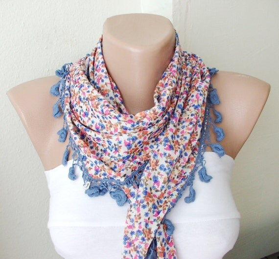 SALE-Blue color blue, red, orange flowers desing  with light brown flower lace scarf