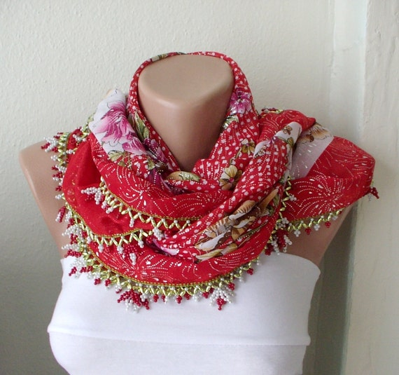 Red, White  Cotton with Turkish OYA Spring Scarf