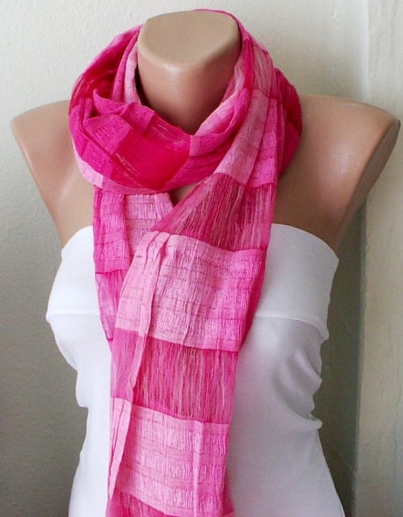 Hand Dyed Pink  Silk and Cotton Scarf with tassel