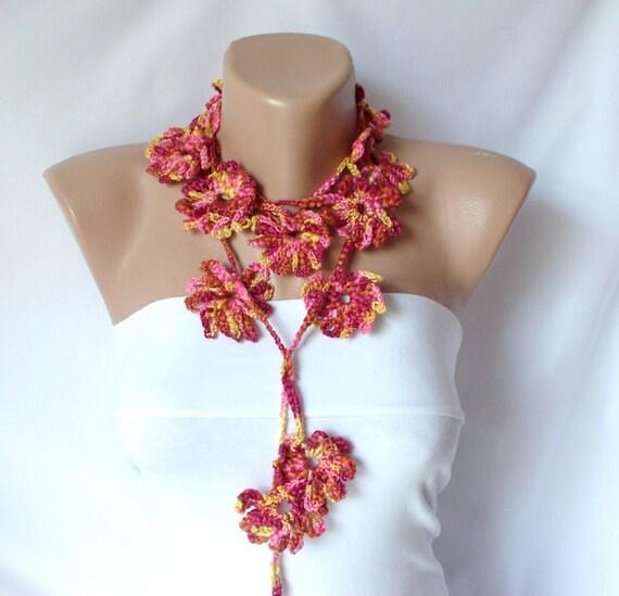 Flower Scarf AUTUMN SALE Handmade Crochet  multicolor  Flower Lariat, Scarf, Necklace