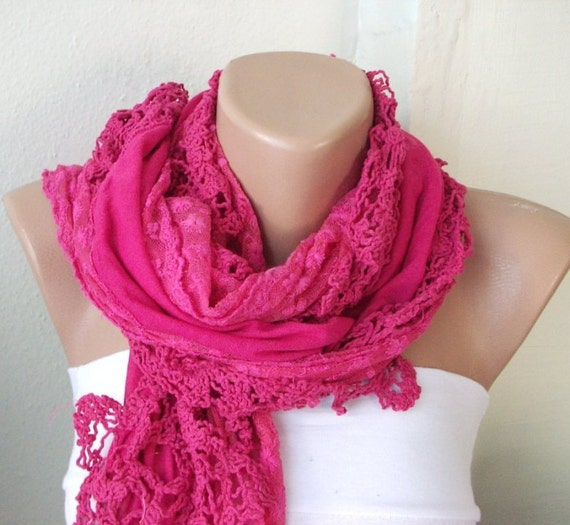 Neon Pink-  Cotton Scarf -Tulle Scarf- Lace Scarf- Gift