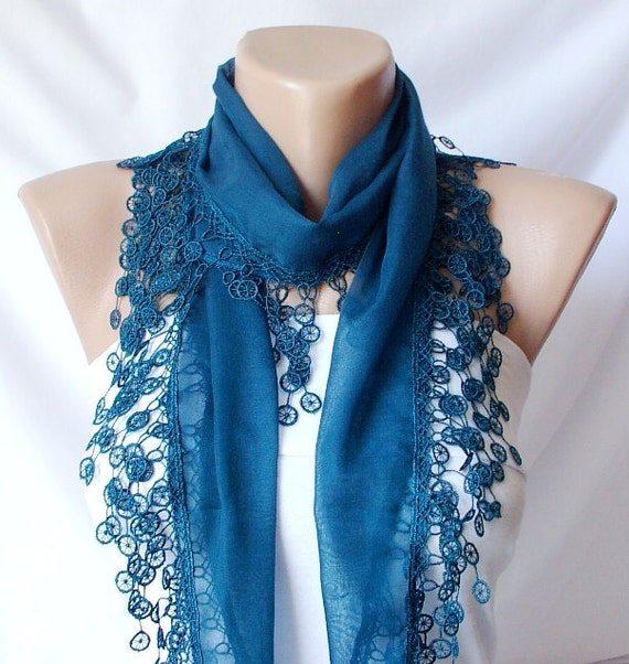 Lace Scarf  - Teal Green - Cotton Scarf with Lace