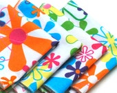 FREE OFFER Child Reusable Cloth Napkins / Wipes - Set of 4- Groovy Flowers