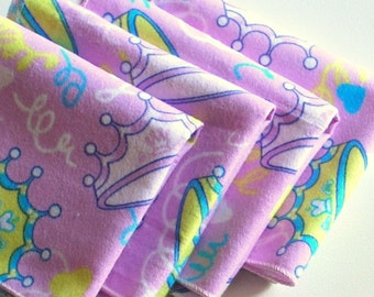 FREE OFFER Child Reusable Cloth Napkins / Wipes - Set of 4- Princess for the Day