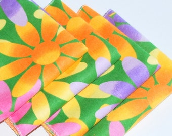 FREE OFFER Child Reusable Cloth Napkins / Wipes- Set of 4- Lazy Daisy