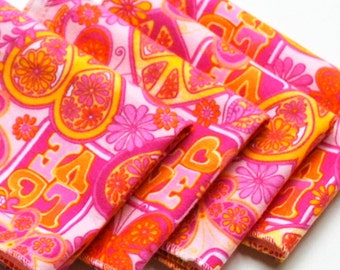 FREE OFFER Child Reusable Cloth Napkins / Wipes - Set of 4- Groovy Kind of Love Pink