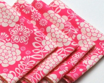 FREE OFFER Child Reusable Cloth Napkins / Wipes - Set of 4- Delightful Dahlia