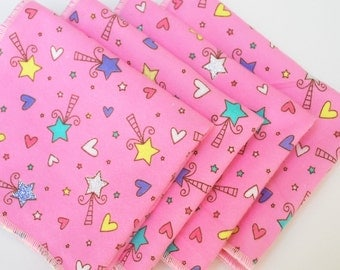 FREE OFFER Child Size Reusable Cloth Napkins / Wipes - Set of 4- Fairy Wands