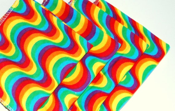 FREE OFFER Child Reusable Cloth Napkins / Wipes- Set of 4- Rainbow Wave