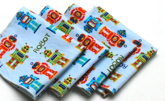 FREE OFFER Child Reusable Cloth Napkins / Wipes - Set of 4- We Are Robots