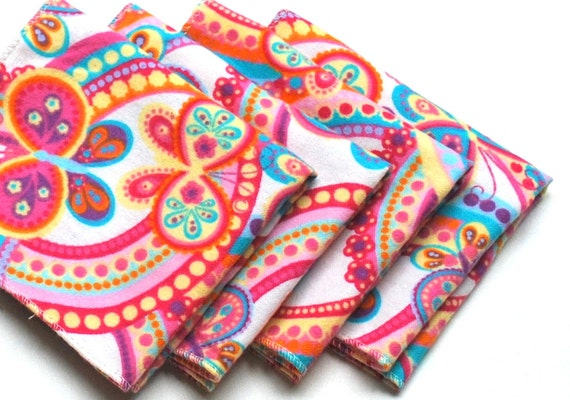 FREE OFFER Child Reusable Cloth Napkins / Wipes - Set of 4- Butterfly Paisley White