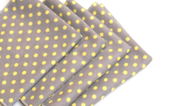 FREE OFFER Child Size Reusable Cloth Napkins / Wipes - Set of 4- Tiny Dots Grey / Yellow