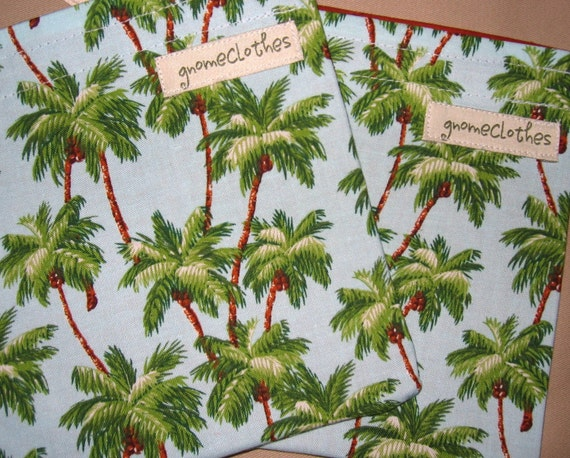 o- Back To School SALE -o Reusable Snack Bag \/ Tote - Set of 2- Palm Trees --S--