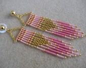 SALE - Seed Bead Chain Earrings - Modern Native American Style - Pink