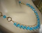 Czech Fire-Polished Bead Bib Necklace/Earrings Set - Turquoise