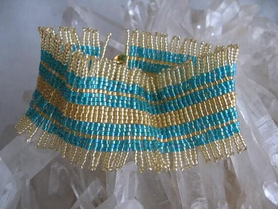 50% Off Sale - Bead Woven Funky Fringe Bracelet Cuff