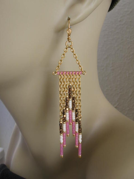 Seed Bead - Native American Chain Style Earrings - Bronze/Pink/Cream