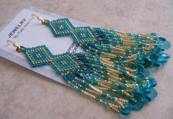 Seed Bead Earrings - Native American Bead Woven - Teal