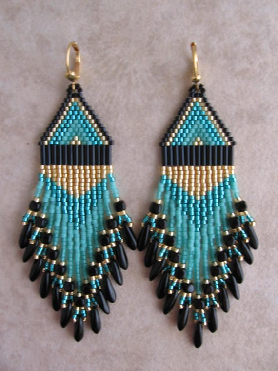 Seed Bead Beadwoven Earrings - Teal/Minty Aqua - Free Shipping