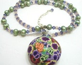 Floral Bouquet Necklace, Polymer Clay Flower Pendant, Green Freshwater Pearls