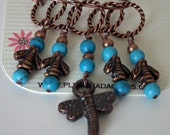 Beaded Stitch Markers. Copper Bee Charms,Turquoise Beads and Copper Rings