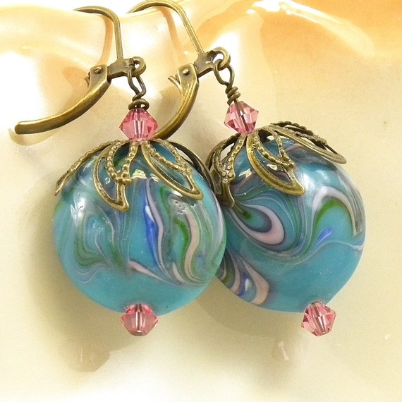 Blue Polymer Clay Lentils Brass Earrings