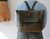 "R&T FIELD PACK - 15"" laptop size - waxed canvas laptop backpack  - ten pockets - unisex"