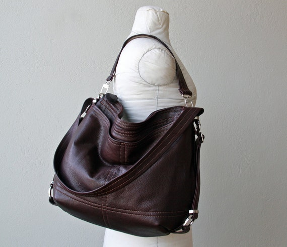 sale - ships today - 3 WAY HOBO PACK - mid size - leather backpack - with two outside pockets - two way bag - ships as seen in chocolate