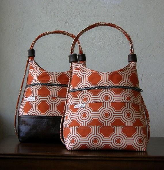 Mims Nap Sack\/Shoulder Bag in Harvest Rust Joel Dewberry Tile Squares Cotton