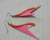 Metal Hot pink and Orange Abstract dangle pierced earrings