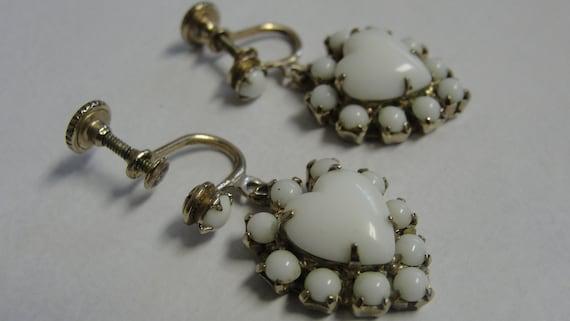 White Opaque Rhinestone Heart Screw Dangle Earrings