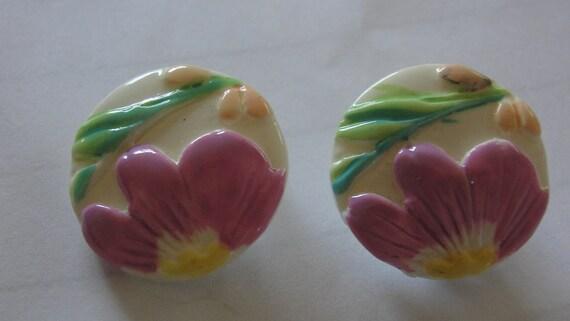 Round Acrylic Purple Flower Clip Earrings