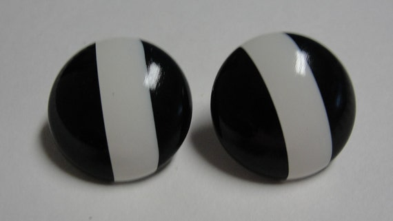 Black and White Stripe Acrylic Clip EArrings