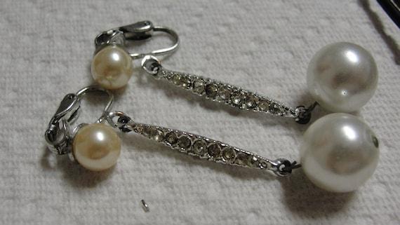 Simulated Pearl and Rhinestone Clip Earrings