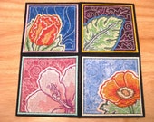 Set of 4 Flower Applique and Embroidered Drink Coasters