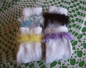 4 Pair, Teen, Women's, Embellished, Socks,Gifts,Wearables