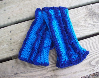 Blue,Navy,Womens,Girls, Wrist Warmers, Fingerless Gloves,Gift,Medium,Crochet