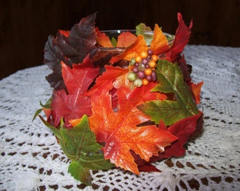 Fall,Colorful, Decorated, Glass, Bowl,Leaves,Gift,Decor,Desk,Home