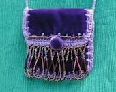 Medicine / Amulet Bag Handsewn Purple Velvet Beaded Fringe