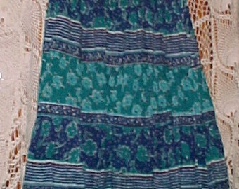 Vintage Hippie Dancing Skirt Turquoise and Blue